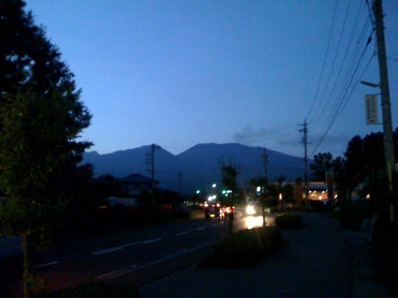 夕暮れの浅間山。