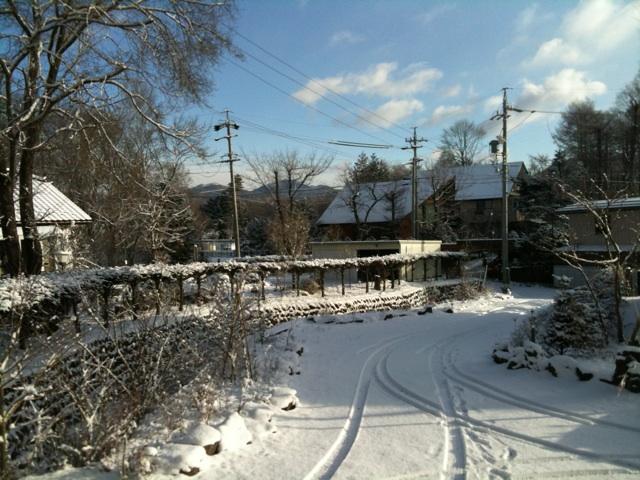 今朝の軽井沢【雪のち腫れ】