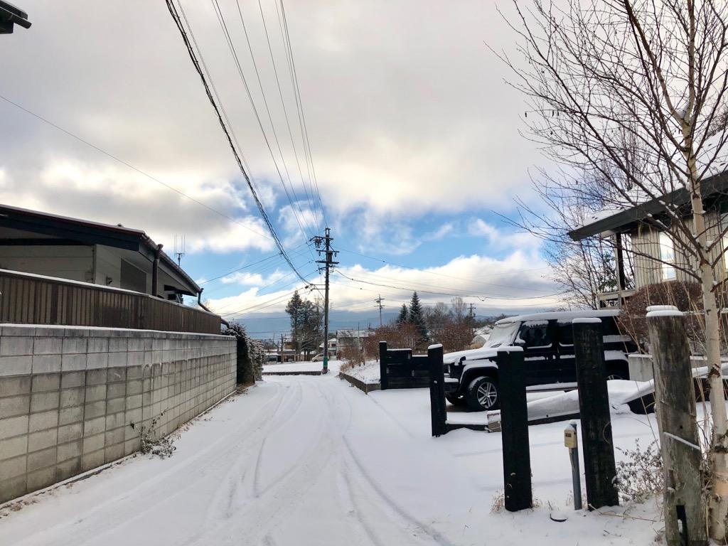 今朝の軽井沢【雪のち曇り時々晴れ】